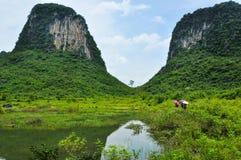 Lantligt landskap för härlig karst på Guilin, Kina Royaltyfri Bild