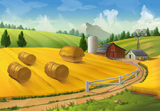 Lantligt landskap för lantgård stock illustrationer