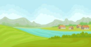 Lantligt landskap för sommar med hus och floden, fält med grönt gräs, jordbruk och bruka vektorillustrationen på a stock illustrationer