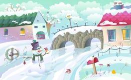 Lantligt landskap för vinter royaltyfri illustrationer