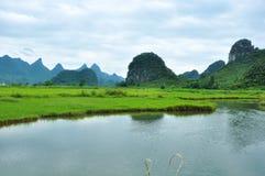 Lantligt landskap i Guilin, Kina Royaltyfri Foto