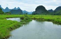 Lantligt landskap i Guilin, Kina Arkivfoton