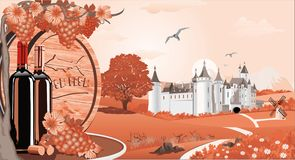 Lantligt landskap i rött med en vinranka och grupper av druvor och trätrumma för vin Fotografering för Bildbyråer