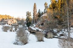 Lantligt landskap i vinter Arkivfoto