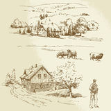 Lantligt landskap, jordbruk, lantgård Arkivbild