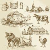 Lantligt landskap, lantgård, hand dragen watermill Royaltyfria Bilder