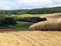 Lantligt landskap med baler av hö Royaltyfria Foton