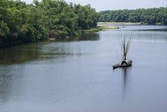 Lantligt landskap med sampan på Thu Bon River utanför Hoi An, tävlar royaltyfria foton