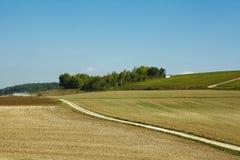 Lantligt landskap med vägen, champagne, Frankrike Fotografering för Bildbyråer