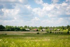 Lantligt lettiskt landskap Fotografering för Bildbyråer