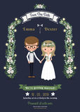 Lantligt romantiskt kort för tecknad filmparbröllop Royaltyfria Bilder