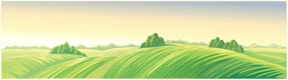 Lantligt soluppgånglandskap med kullar stock illustrationer