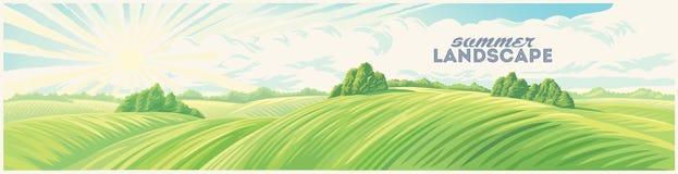 Lantligt soluppgånglandskap med kullar royaltyfri illustrationer