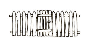 Lantligt staket som göras av trä stock illustrationer