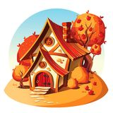 Lantligt stenhus Hösten landskap stock illustrationer