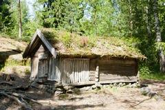 Lantligt trähus i det frilufts- museet Seurasaari, Helsingfors Arkivbilder