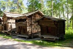 Lantligt trähus i det frilufts- museet Seurasaari, Helsingfors Arkivbild
