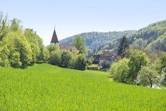 Lantligt vårlandskap runt om Steinkirchen royaltyfri foto