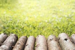 Lantligt wood journaltabellperspektiv och suddig grön bakgrund Royaltyfri Fotografi