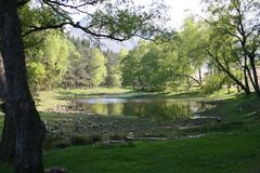 Lantys Tarn, a small lake - almost a pond Royalty Free Stock Image