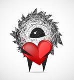 Lanuginoso con un cuore illustrazione vettoriale