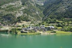 Lanuza, dorp in Tena vallei, de Pyreneeën Royalty-vrije Stock Foto's