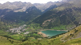Lanuza reservoir. Close to Sallent de Gallego Village in Pyrenees stock photography