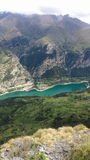 Lanuza Reservoir from Pico Pacino. View of Lanuza reservoir from Pico Pacino in Pyrenees royalty free stock photography