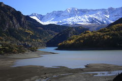 Lanuza's lake, mountains in Tena valley, Pyrenees Stock Images