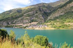 Lanuza village lake Huesca Pyrenees Spain Stock Images