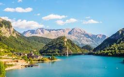 Lanuza village in spanish Pyrenees, landscape mountais and lakes. Lanuza village in spanish Pyrenees, landscape mountains and lakes stock image