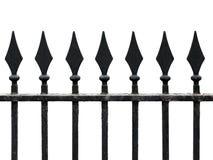 Lany żelaza ogrodzenie z dzidami odizolowywać na bielu Zdjęcia Stock