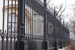 Lany żelazny czerni ogrodzenie pałac zdjęcie stock