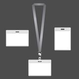 Lanyard badges. Blank lanyard badges with ID card design on gray background Stock Photo