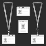 Lanyard, name tag holder end badge, templates Royalty Free Stock Photo