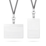 Lanyard with transparent empty vertical and horizontal tags badge holder isolated on white Stock Photo