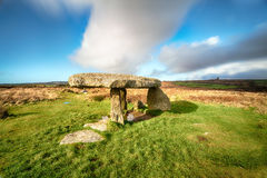 Lanyon Quoit in Cornwall. Lanyon Quoit a Neolithic Dolmen near Madron on the Land`s End peninsula in Cornwall Stock Images