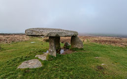 Lanyon Quoit. A foggy overcast day at Lanyon Quoit, a Neolithic Dolmen near Penzance in Cornwall Royalty Free Stock Images