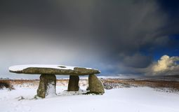 Lanyon Quoit in the Snow. Royalty Free Stock Photography