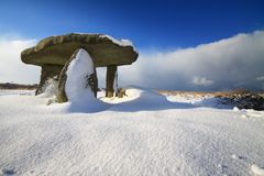 Lanyon Quoit in the Snow. Royalty Free Stock Photo