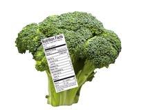 Lanza del bróculi con la escritura de la etiqueta de la nutrición Imágenes de archivo libres de regalías
