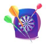 Lanza el icono Símbolos que se divierten del logotipo de la insignia Dardos, diana, icono para el deporte, logotipo que se divier libre illustration