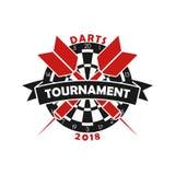 Lanza el logotipo del torneo Plantilla para el emblema del campeonato del deporte con el dardo, la diana y la cinta Vector stock de ilustración