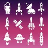 Lanzadera, cohetes y espacio blancos libre illustration