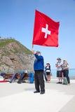 Lanzador suizo de la bandera Fotografía de archivo libre de regalías