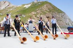 Lanzador suizo de la bandera Foto de archivo