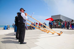 Lanzador suizo de la bandera Fotos de archivo