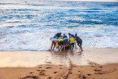 Lanzamiento de la playa Fotografía de archivo libre de regalías