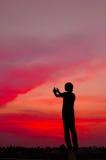 Lanzamiento de la puesta del sol Imagen de archivo