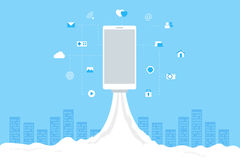 Lanzamiento de Rocket con los iconos móviles Wi-Fi, 3G, 4G Imagen de archivo